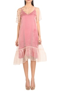 Organza & satin embroidered double layer dress