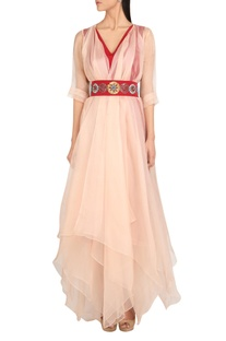Organza layered gown with hand-embroidered belt
