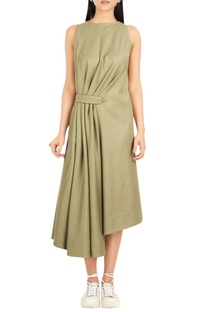 Pure cotton midi dress with gathered waist