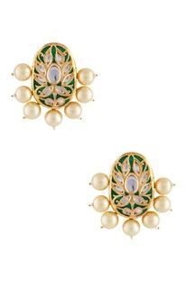 Meena work circular earrings
