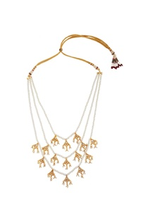 Tiered style tie-up ethnic necklace