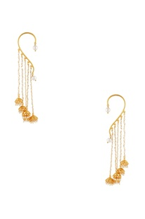 Ear cuffs with dangling jhumka accents