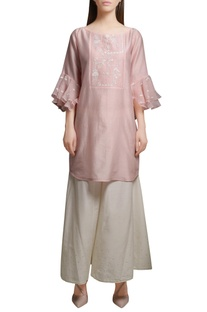 Blush pink chanderi kurta with cotton silk flared pants