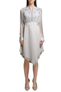 Ivory pearl & sequin embroidered handkerchief hemline georgette tunic