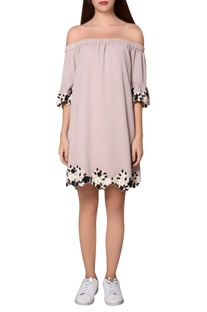 Dull beige moss crepe bardot dress with thread & sequin embroidery
