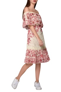 Red & white georgette printed summer dress