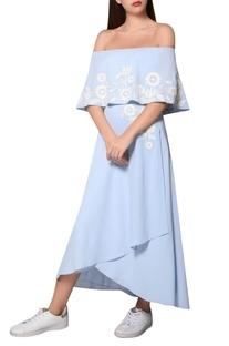 Icy blue moss crepe bardot layer dress