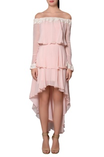 Blush pink & ivory georgette feather detail tiered style dress