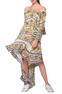 Multicolored georgette garden print high-low dress