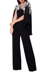 Black jersey cape style jumpsuit