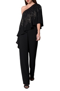 Black moss crepe waterfall drape jumpsuit