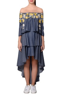 Blue chambray embroidered tiered style dress