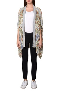 Multicolored georgette garden printed front open jacket