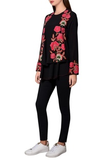 Black moss crepe floral embroidered front open jacket