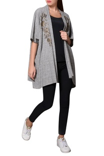 Grey jersey bead embroidered front open jacket