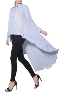 Icy blue moss crepe high low embroidered shirt