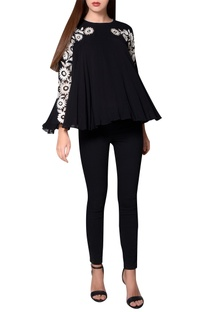 Black georgette pleated style blouse