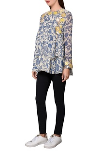 Blue georgette printed layered blouse