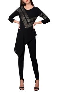 Black moss crepe asymmetric hemline blouse