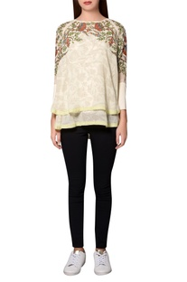 Ivory georgette floral printed layered blouse