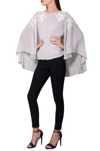 Grey georgette batwing sleeves blouse
