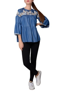 Blue denim thread embroidered tiered style blouse