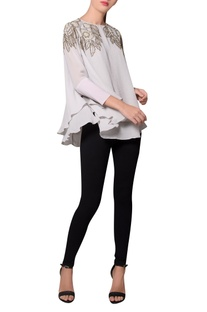 Grey moss crepe double layered beaded blouse