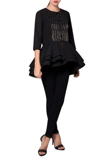 Black georgette bead embroidered blouse