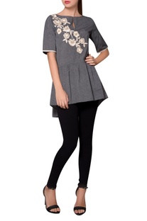 Grey tiered style jersey blouse