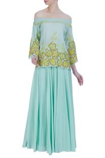 Hand embroidered floral off-shoulder blouse & skirt