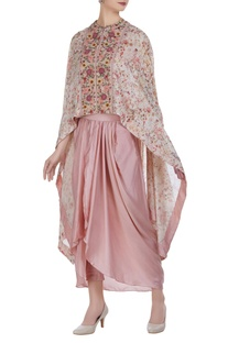 Thread & sequin embroidered cape with dhoti skirt