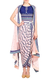Blue & pink printed dhoti dress with attached blouse & sheer net cape