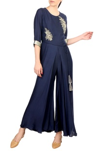 Blue crepe silk flared wrap layer jumpsuit