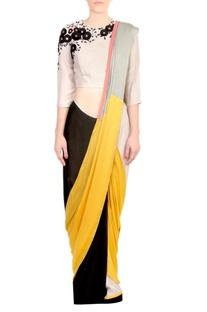 Yellow & black color block satin silk saree