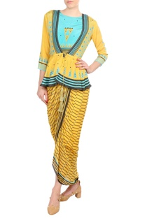 Yellow & blue printed peplum blouse with dhoti jumpsuit