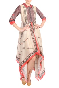 Multicolored printed tussar silk asymmetric dress