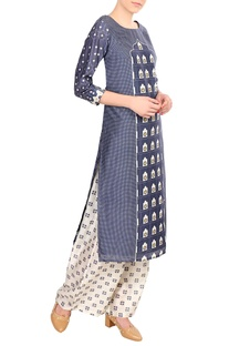 Blue chanderi printed kurta with palazzos