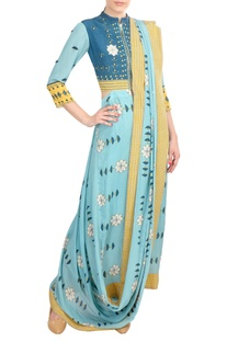 Yellow & blue crepe silk pre-draped saree with attached jacket-blouse