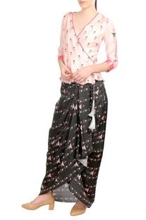Pink peplum blouse & dhoti skirt
