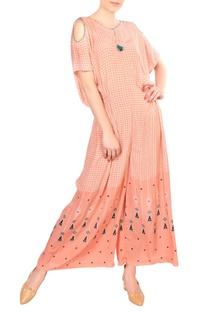 Peach crepe silk printed jumpsuit