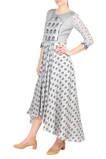 Grey printed high-low cotton dress