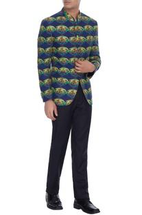 Blue raja lotus printed linen bandhgala jacket