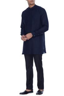 Navy blue kurta shirt with attached bib detail & henley collar