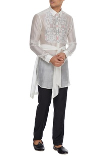White floral bib layer handloom cotton kurta shirt