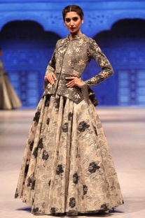 Grey & silver suede jacket with cutdana embroidered lehenga