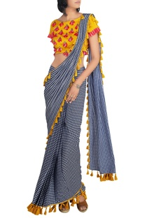 Mustard raw silk blouse with houndstooth crepe silk pre-draped saree