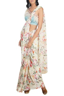 Multicolored georgette floral printed saree with stain lycra one-shoulder blouse