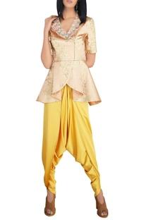 Peach textured silk thread & sequin peplum jacket with mustard satin dhoti pants