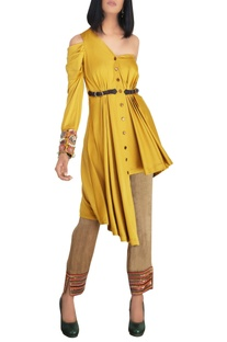 Mustard cold-shoulder satin lycra shirt with raw silk slim pants