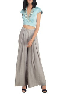 Sky blue chiffon and satin pearl embellished crop top with high-waist pants